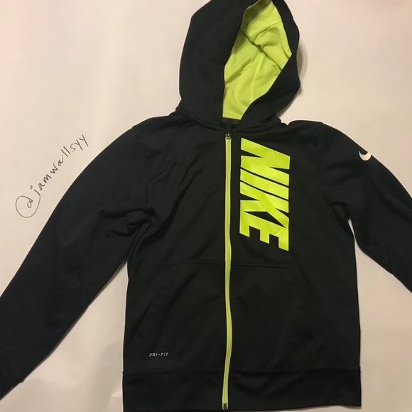 Boys Nike Zip Hoodie Black and Neon Green